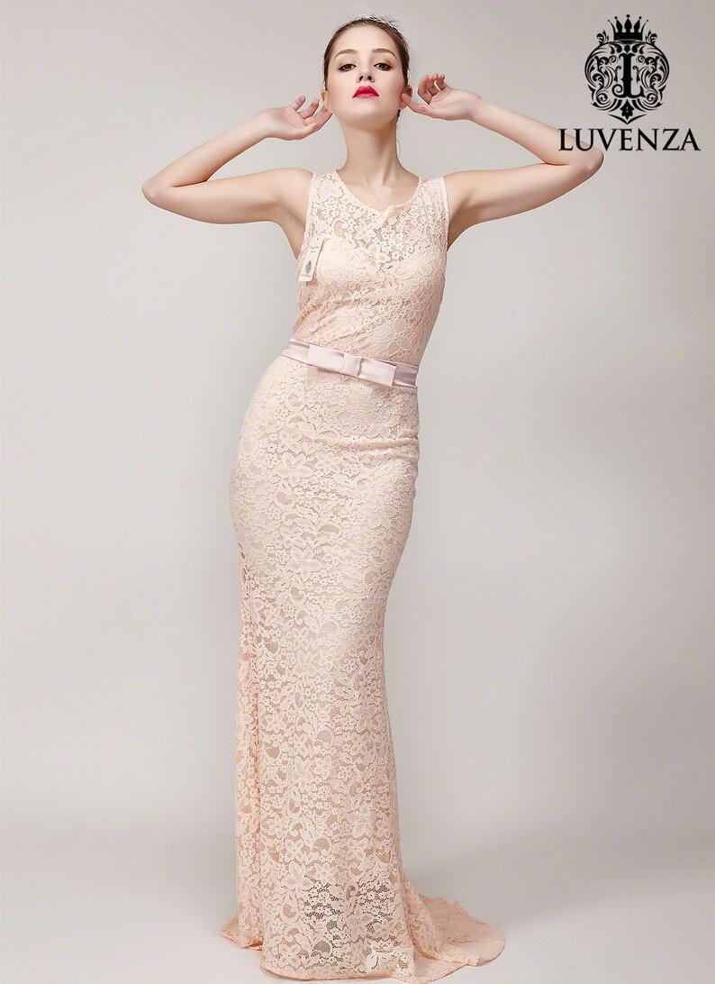 2699eb322fb4 Nude Pink Lace Maxi Dress with Short Train Sleeveless Maxi | Etsy