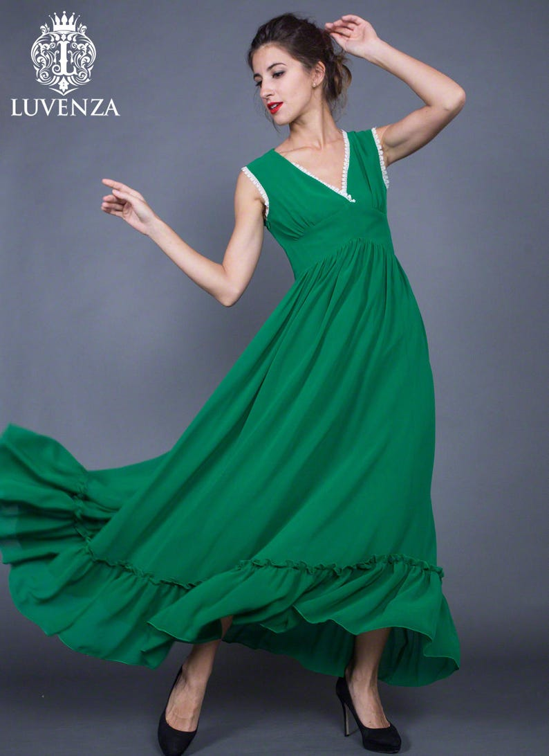 c2fbff1d1a1fa V Neck Emerald Green Chiffon Maxi Dress with White Lace | Etsy