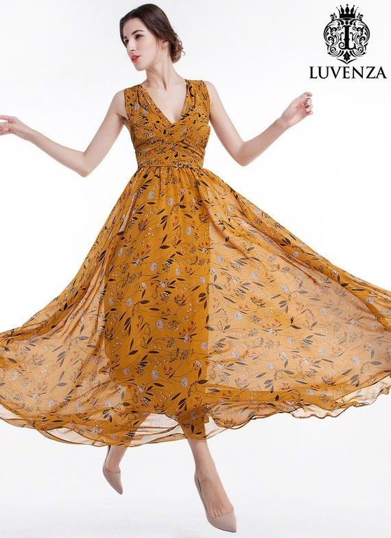 Mustard Yellow Floral Maxi Evening Dress Floor Length Etsy