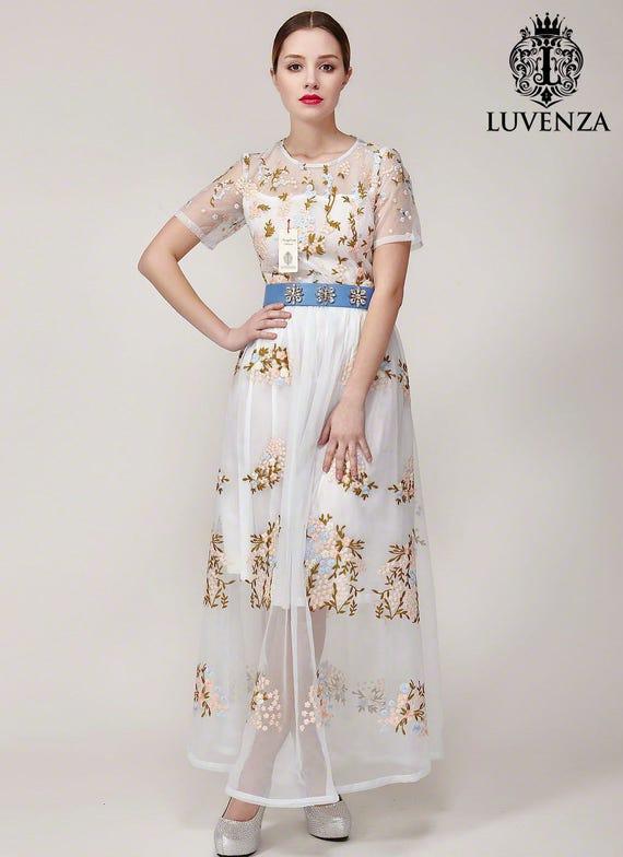 Light Blue Organza Maxi Dress Light Blue Lace Maxi Dress Blue Maxi Dress Lace Prom Dress Elegant Evening Dress Prom Dress B418