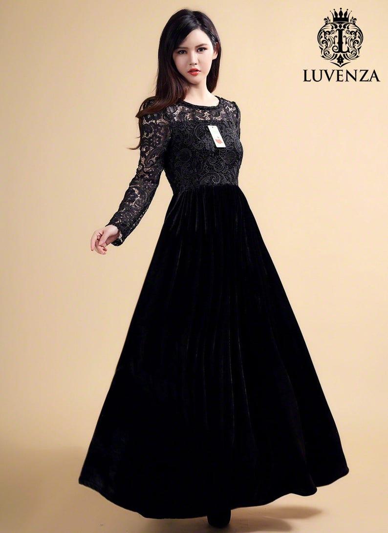 6a6a74e4fb Long Sleeve Navy Lace Velvet Maxi Dress Elegant Winter Dress | Etsy