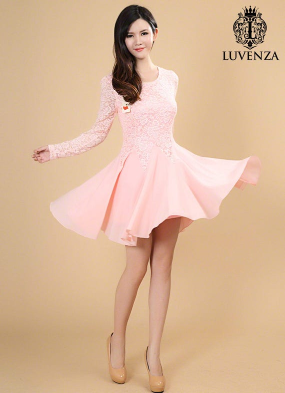 Rosa Spitze Chiffon-Kleid Rosa Fit und Streulicht lange   Etsy ef76136ace