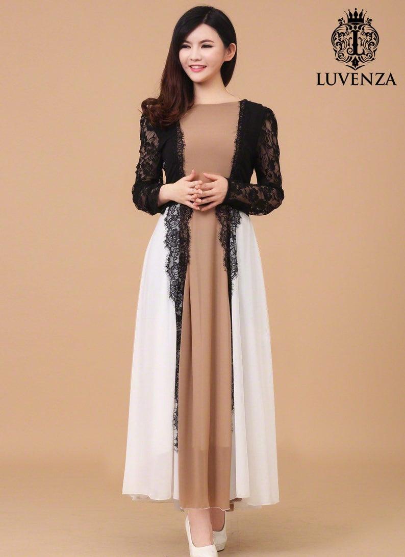 20092d1172 Unikalne kolorowe długie Szyfonowa sukienka z koronką czarne