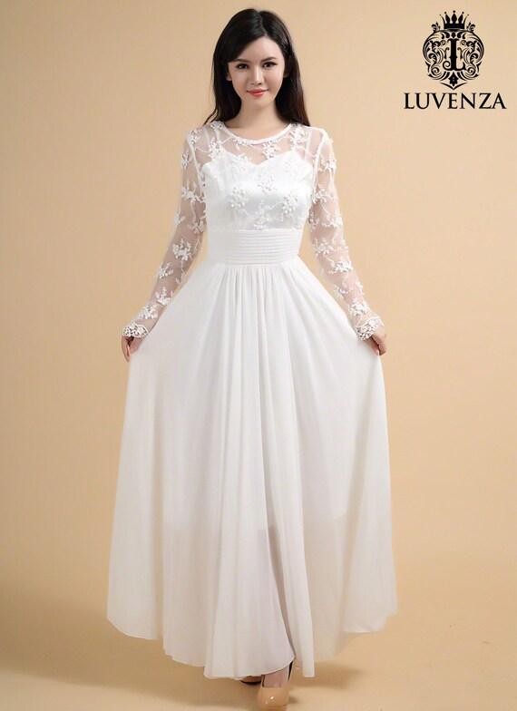 Long Sleeve Lace Maxi Dress White Lace Dress White Maxi | Etsy