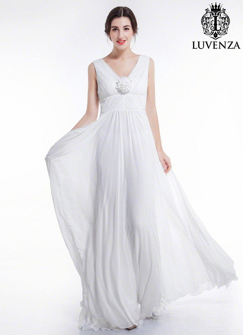 af6dc4a3e03 Blanc robe de mariée en mousseline de soie longueur Maxi avec
