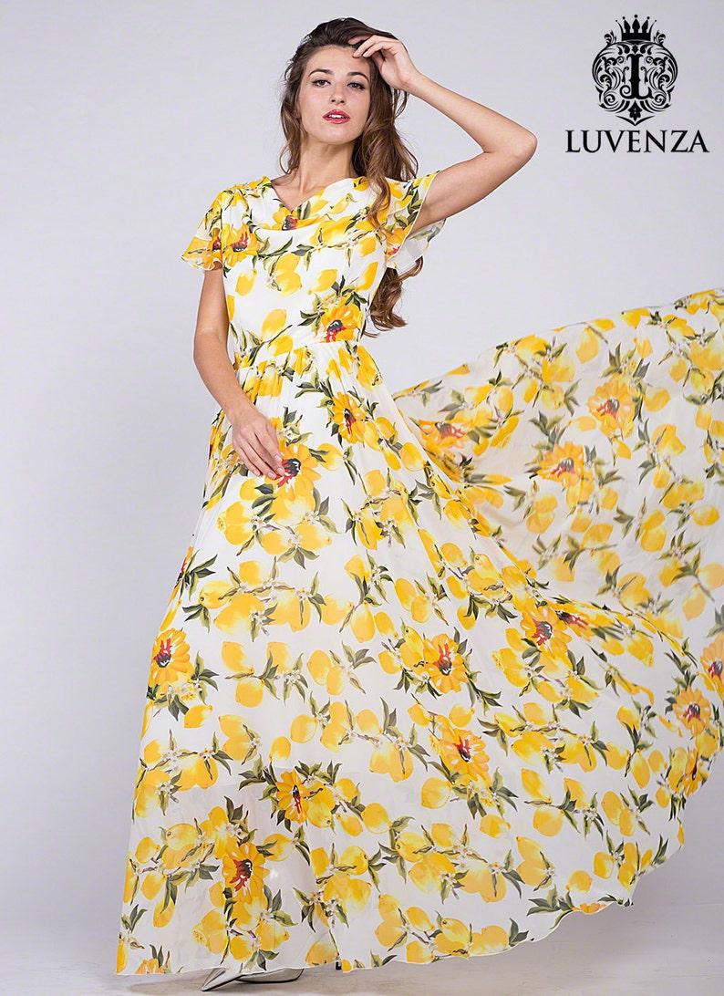 9d912f981aa Citron tendance imprimé robe longue blanche en mousseline de