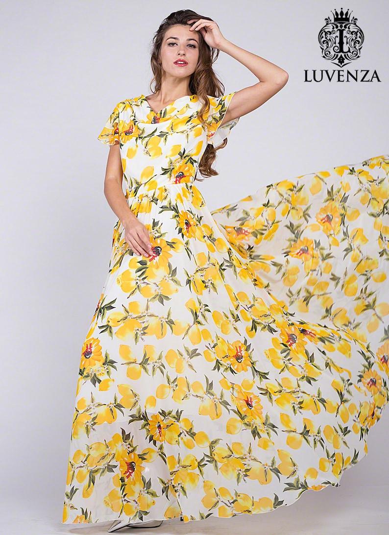 61c45622c09213 Trendy citroen Print lange witte Chiffon Maxi jurk w. smalle
