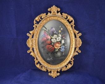 Vintage ITALIAN  Gilt Framed Miniature Painting - Rococo Style Frame