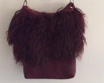 Burgandy Mongolian Lamb Fur Leather Shoulder Bag Purse Ipad Carrier