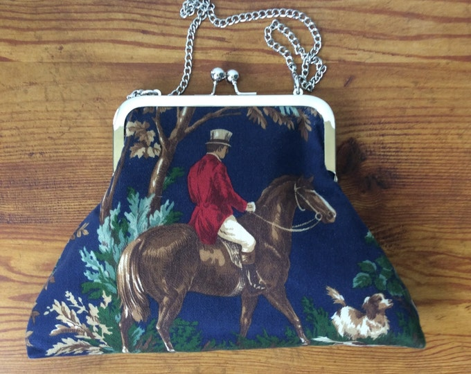 Navy Equestrian Ralph Lauren Horse fabric Purse