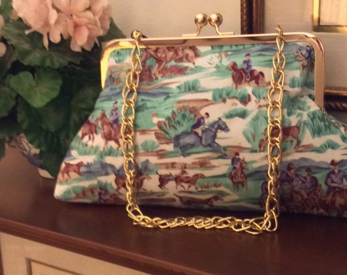 Equestrian Horse HandbagPurse Clutch Blue and Green