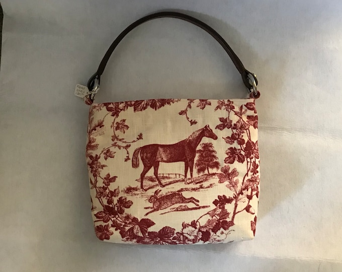 Equestrian Horse Handbag Purse with Bridle Handle Red Linen