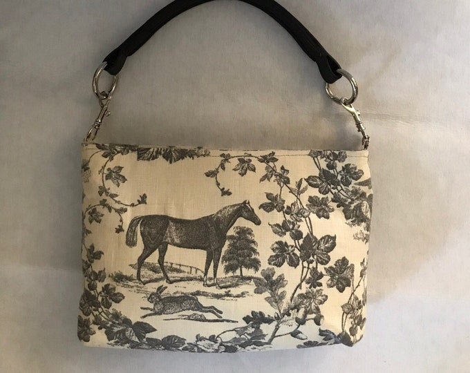 Horse Purse Equestrian Purse Grey Linen Equestrian Horse Handbag Purse with Bridle Handle