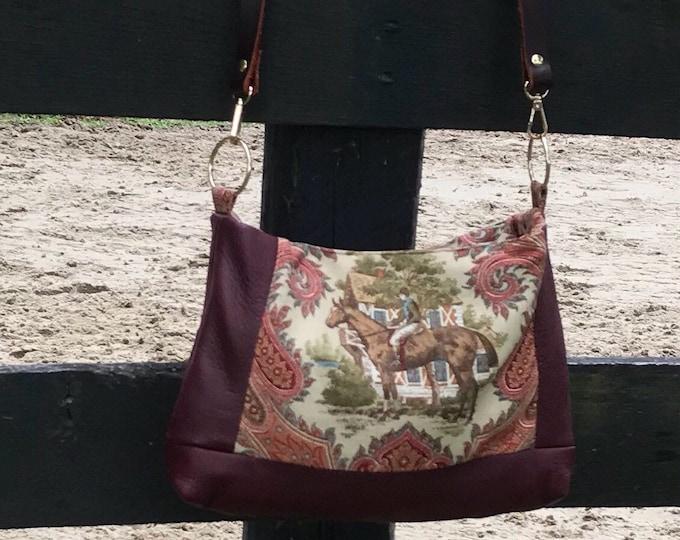Burgandy Leather Equestrian Handbag Purse