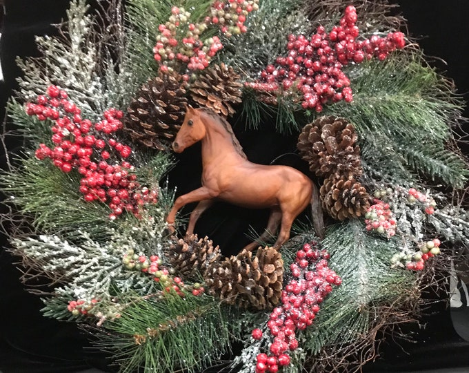 Winter Horse Wreath Equestrian Breyer Horse Christmas Holiday Wreath.