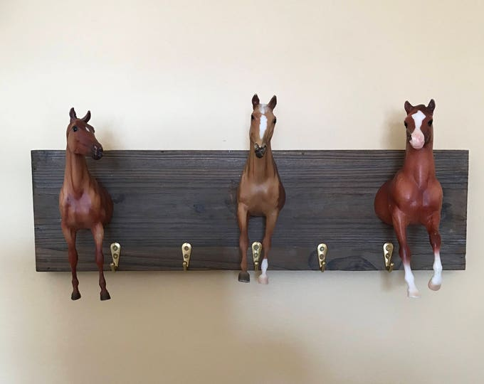 Equestrian Horse Hooks Wall Hanging Hooks Breyer Horses on Barn-wood Horse Decor Equestrian Decor