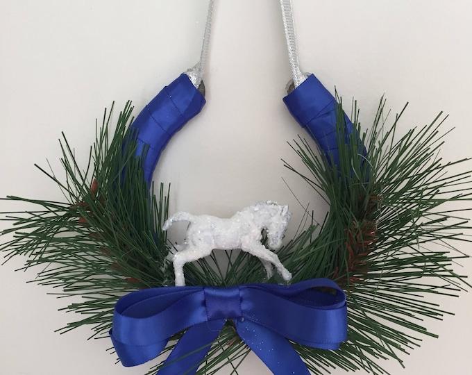 Royal Blue Horse Equestrian Christmas Holiday Horseshoe