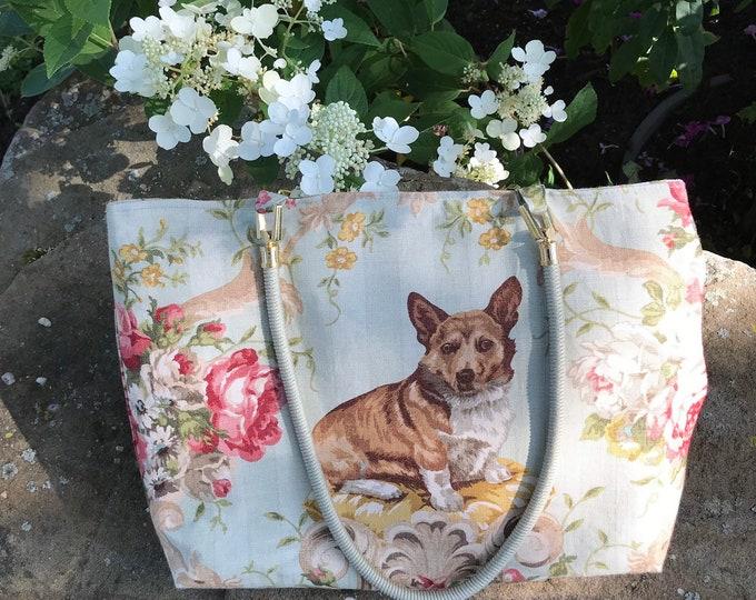 Corgi Dog Equestrian Purse Tote Handbag