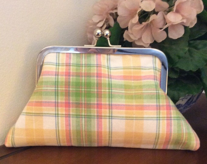 Pastel Plaid Ralph Lauren fabric Clutch Purse Handbag Wristlet