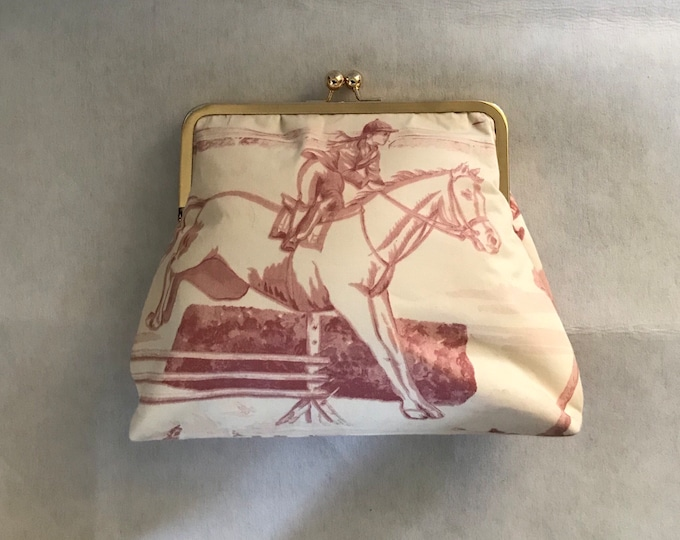 Ralph Lauren Horse Purse Pink and Cream Equestrian Horse Fabric Clutch Purse Tote Kentucky Derby