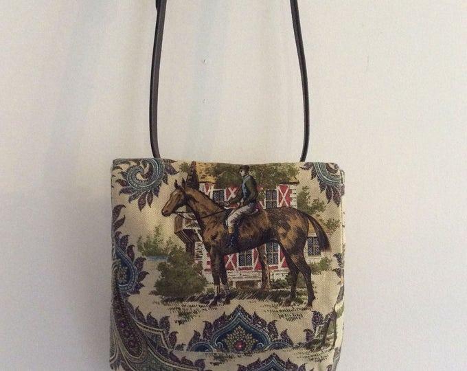 Equestrian Horse Blue Handbag Purse