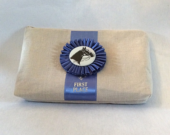 Horse Show Ribbon Equestrian Clutch Handbag Purse