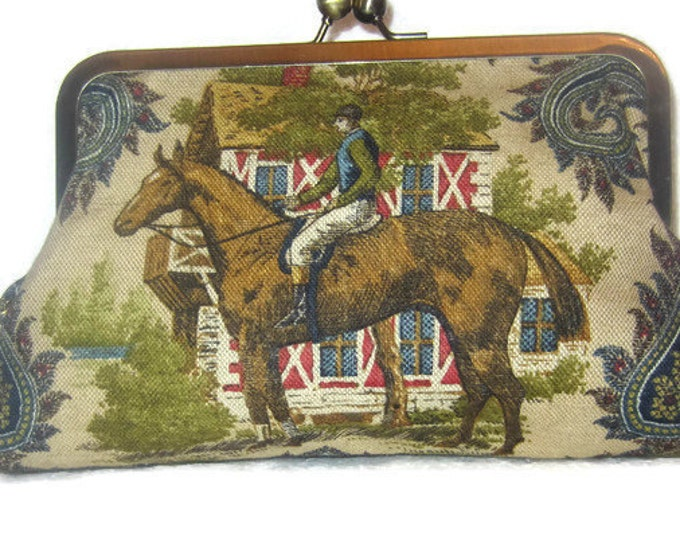 Clutch Purse Equestrian Race Horse and Jockey  Blue Paisley Handbag Kentucky Derby Day