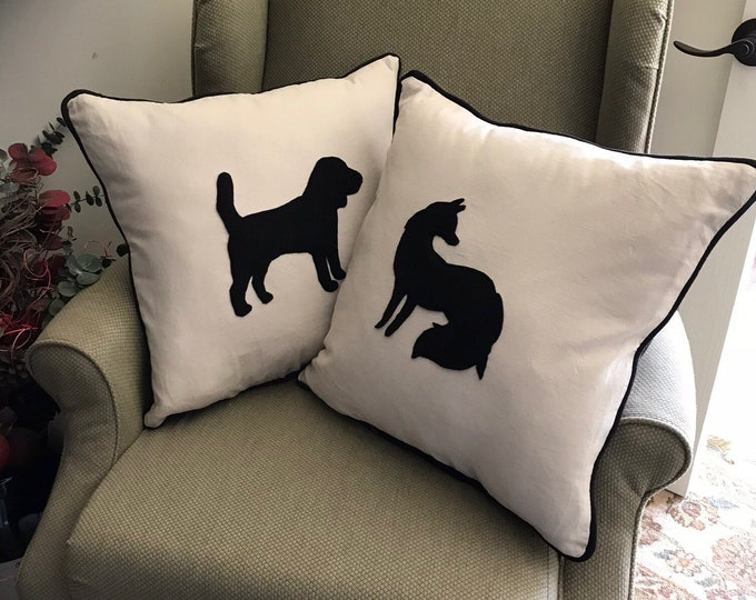 Horse Dog Silhouettes Fox and Hound Foxhunt Equestrian Horse Silhouette Animal Pillows