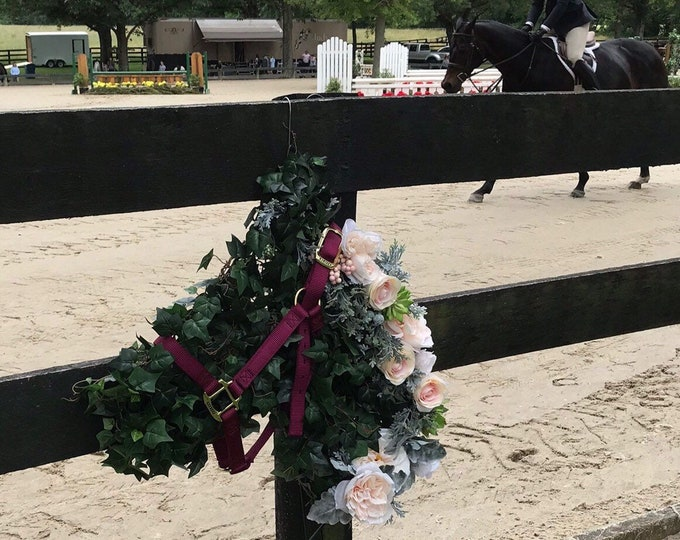 HORSE  HEAD WREATH Equestrian Winter or Christmas  Custom Made decor
