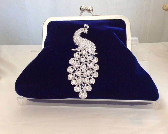 Black Velvet Crystal Peacock Clutch Purse Handbag