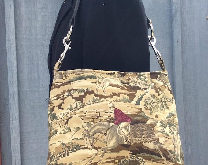 Equestrian Horse Handbag Brown Ralph Lauren Fabric Purse w/Browband kentucky Derby