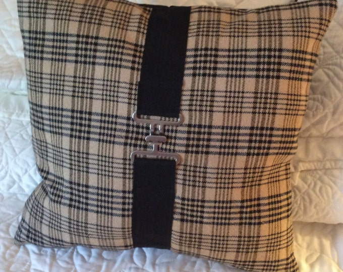 Equestrian Horse Pillow Tan  and Black Plaid Horse Blanket Pillow Equestrian Decor