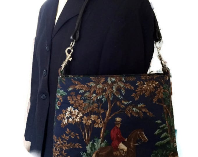 Equestrian Horse Handbag Purse Ralph Lauren fabric and Leather Browband handle   Navy Blue Foxhunt Purse