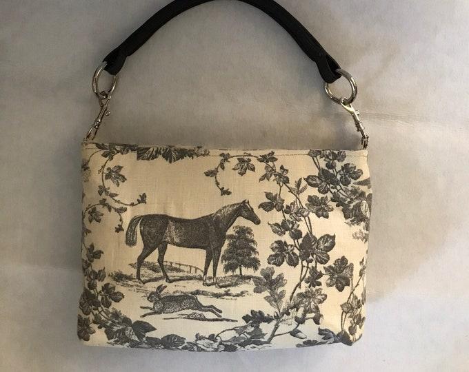 Grey Linen Equestrian Horse Handbag Purse with Bridle Handle