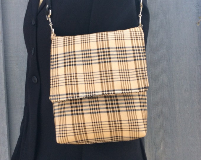 Tan and Black Plaid Equestrian Horse Purse Handbag made from Famous Blanket
