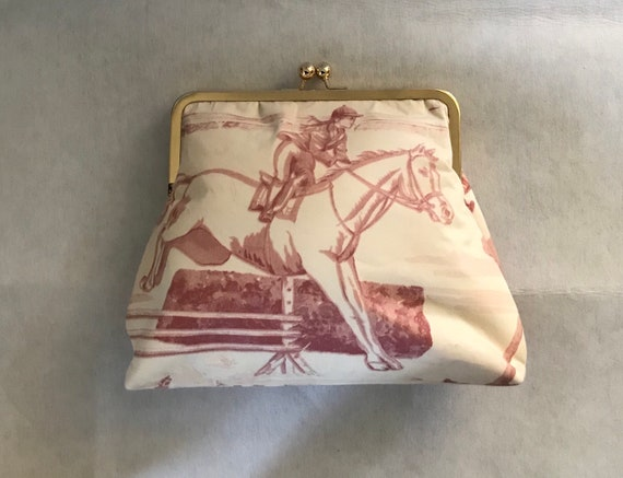 1b0bed8b7db Ralph Lauren Horse Purse Pink and Cream Equestrian Horse   Etsy