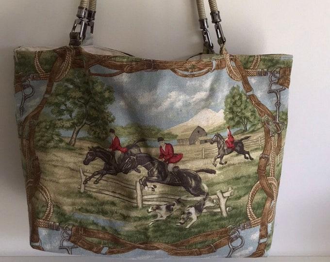 Foxhunt Horse Equestrian Handbag Tote Purse Kentucky Derby