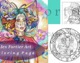 Fairy Coloring Page - Instant Download PDF - 8.5 x 11