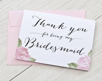 bridesmaid card thank you etsy