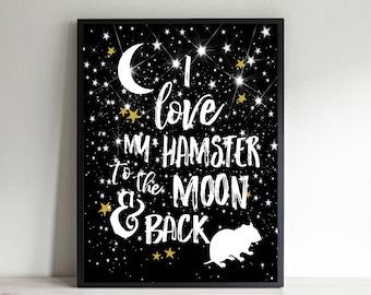 Hamster Wall Art, Hamster Gift, Kids Room Art, Kids Decor, Gift for Teen, Hamster Lover Gift