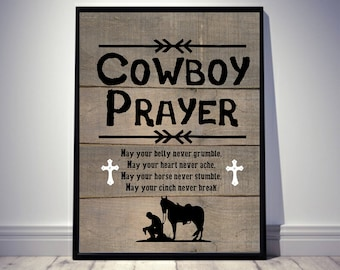 Wonderful Western Print, Western Decor, Western Art, Western Home Decor, Horse Decor,  Cowboy Gift, Cowboy Prayer, Rustic Home Decor, Christian Art
