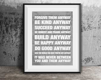 Mother Teresa Do It Anyway Etsy