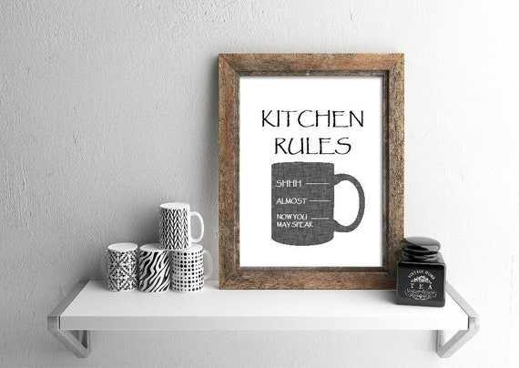 Kitchen Art Print, Kitchen Rules, Coffee Print, Coffee Quote, Kitchen Wall Decor, Kitchen Office Sign, office decor