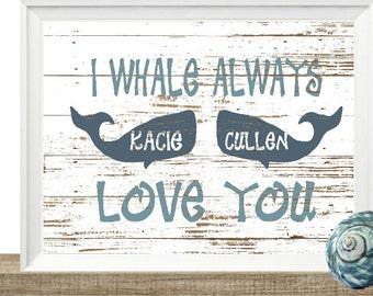 Whale Print, Whale Decor, Nautical Decor, Beach Decor, Beach Print, Beach Sign, Personalized Art Print, Wall Decor, Whale Wall Art