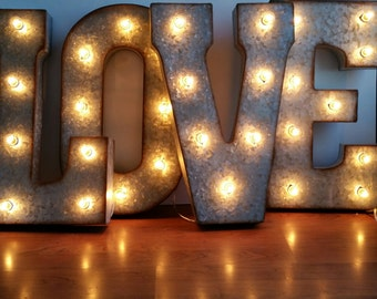 """LOVE 21"""" Large Metal Marquee Letters Wedding Letter Lights Decor Sign"""