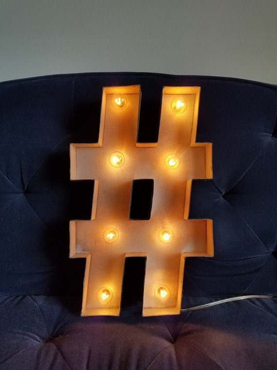 Hashtag LED Marquee Sign Neat Nightlight Decoration Battery Powered