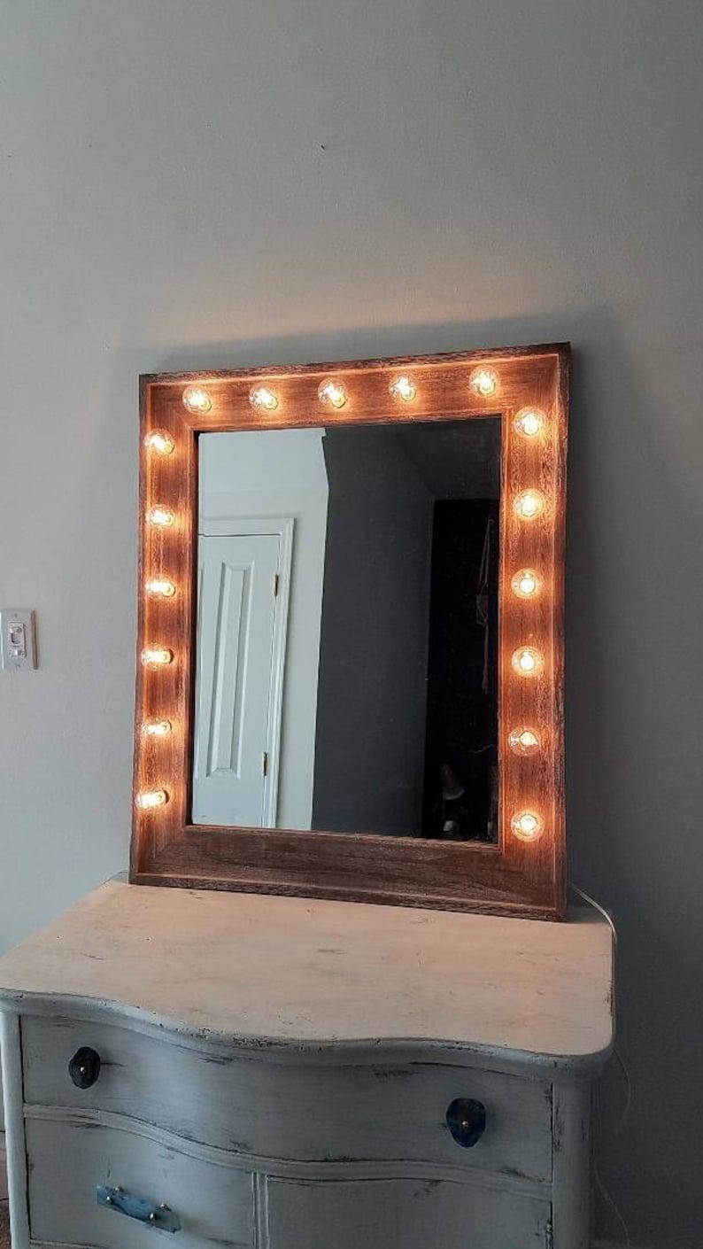 Large Vanity Mirror Reclaimed Driftwood Beveled Vertical Style Etsy