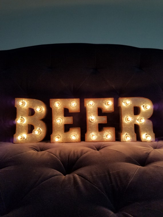 beer light up letters 7 marquee lights sign man cave bar etsy