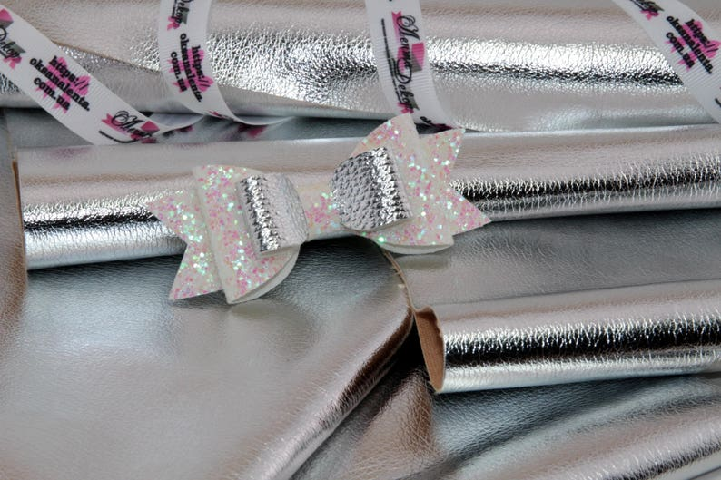 METALLIC Silver DIY Hair Bows leather fabric synthetic vinyl Fabric Material A4 or A5 Leather Fabric Material