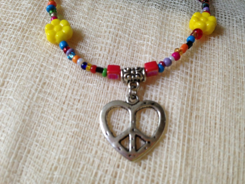 Peace symbol girls magnetic clasp necklace. Heart